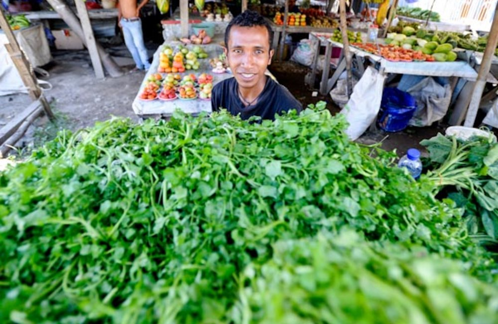 Andre sells vegetables in the Delta 1 area of Dili. Photo by UNMIT/Bernardino Soares