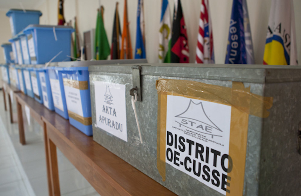 Ballot boxes from Oecussi were delivered to the National Electoral Commission's (CNE) Dili office fo