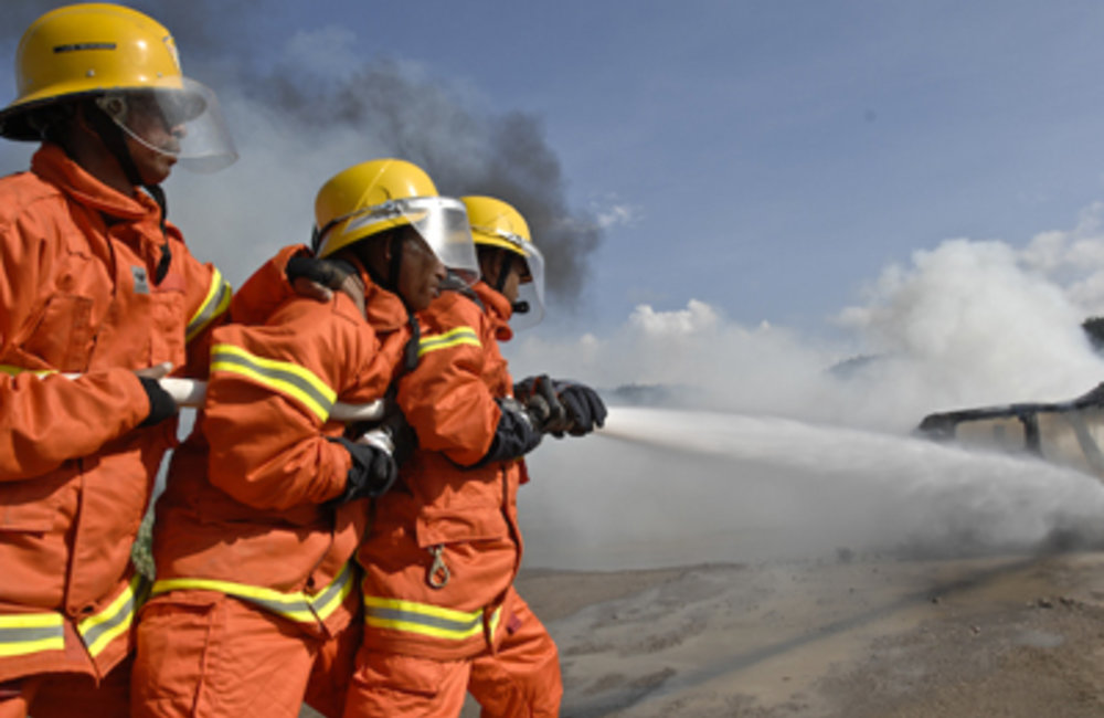 Firefighters from Dili train in emergency response.