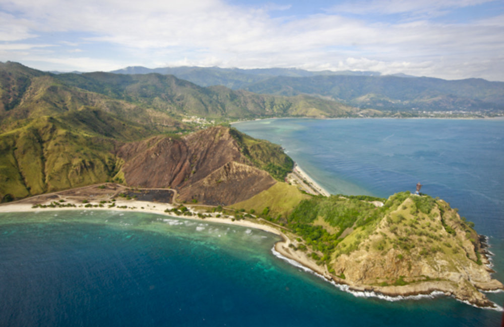 An aerial shot of Cristo Rei of Dili in Timor-Leste. Photo by Martine Perret/UNMIT