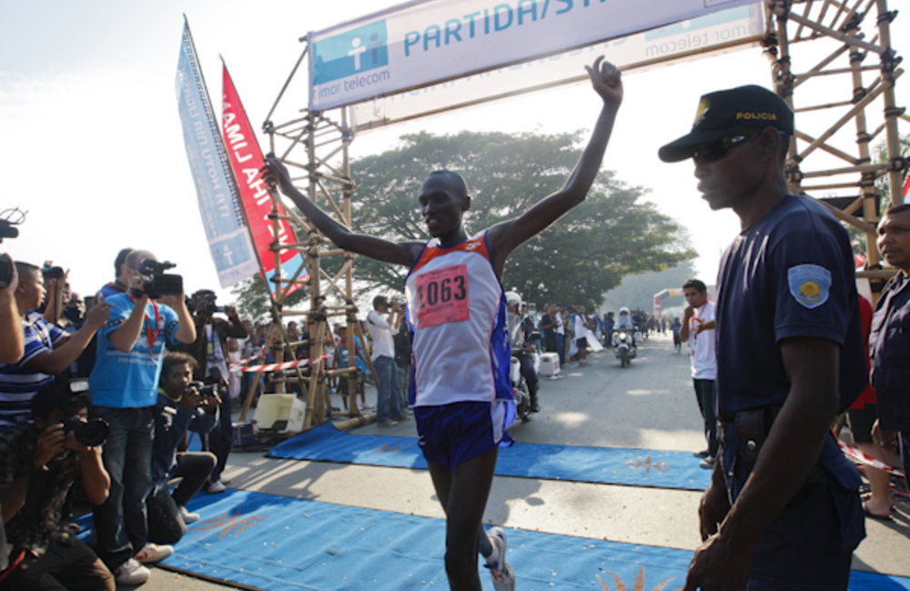 Sammy Kiptoo of Kenya wins the 2011 Dili 'City of Peace' Marathon on 18 june with a course record ti