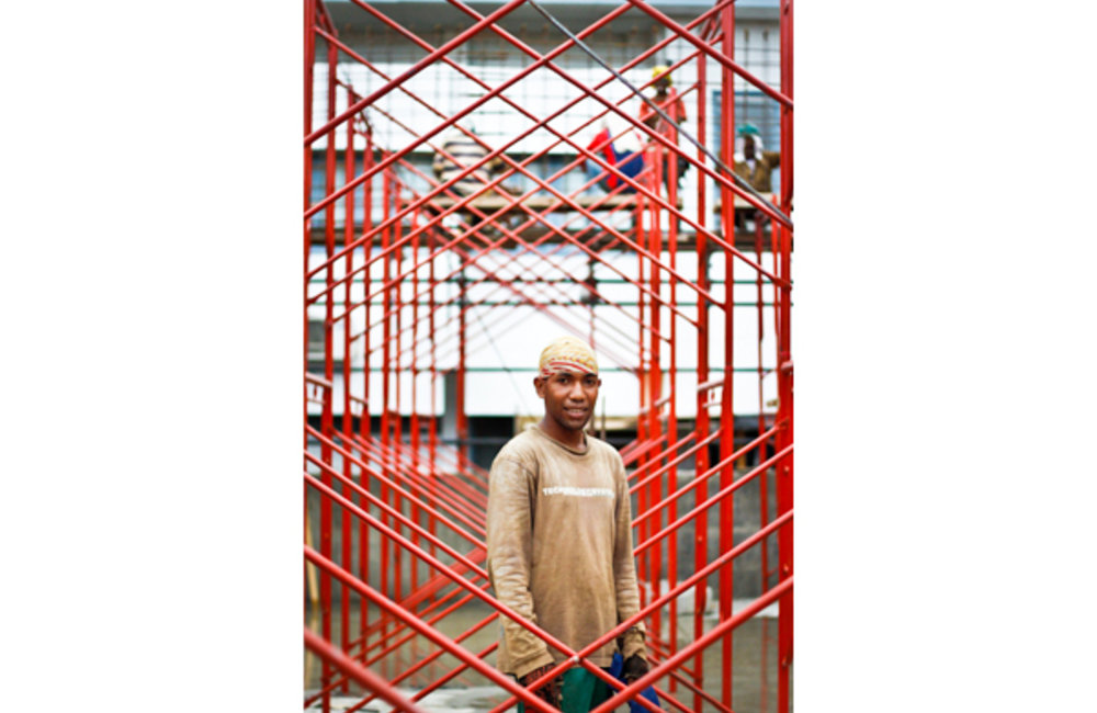 26 year old Augusto de Araujo has been working as a carpenter for five years; currently he is workin