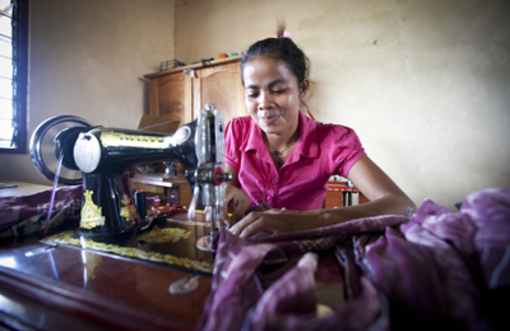 Faustina Da Costa is learning to be a seamstress at the Claretian Training Center in Maudemo Suco ne