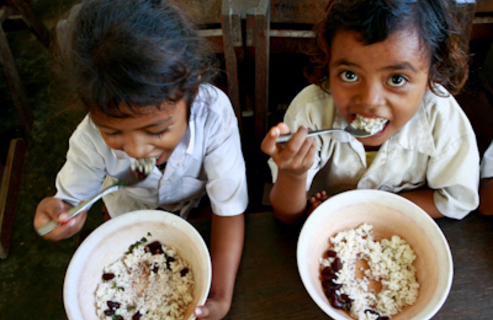 The Ministry of Education's School Feeding Program provides one meal a day to school children in all