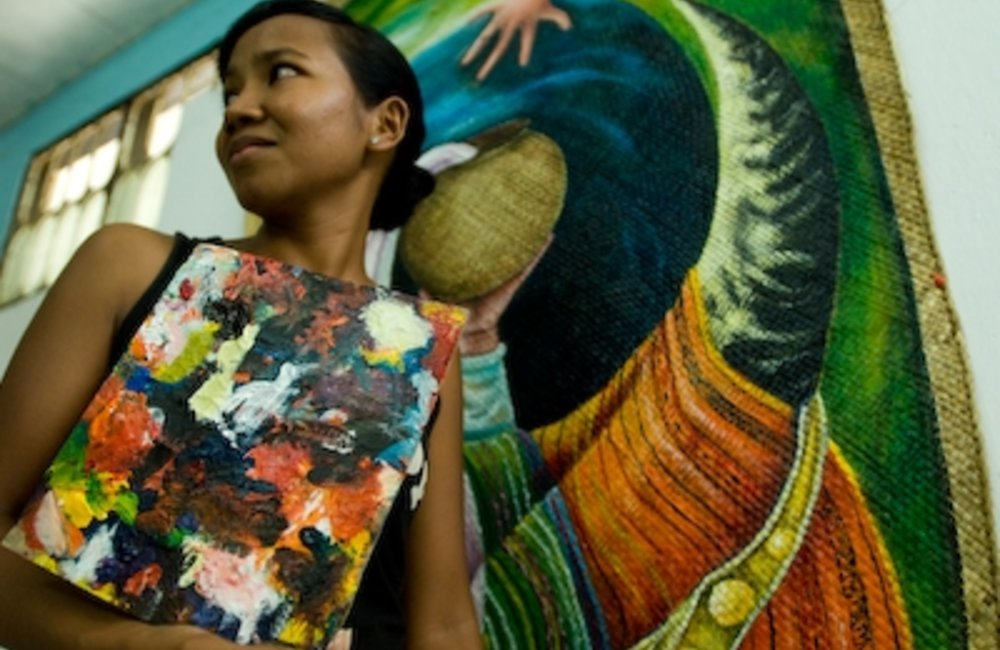 An artist at the Arte Moris cultural centre in Dili, a local NGO where young artists live and receiv