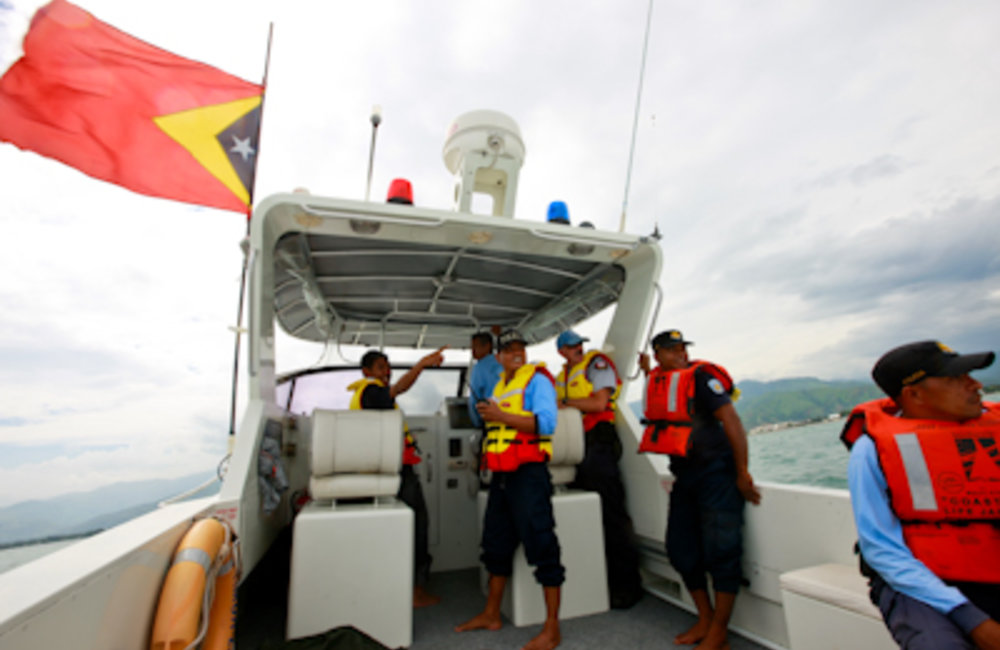 Officers from the Maritime Unit of the National Police of Timor-Leste (PNTL). The Maritime Unit was