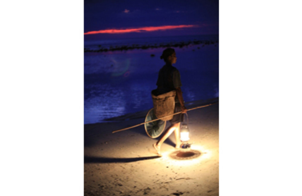 Woman collecting shellfish at night in Dili during during low tide. Photo Martine Perret/UNMIT