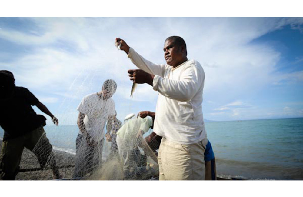 Fisherman from Bebonuk removing fish from their nets. Photo by UNMIT/Bernardino Soares