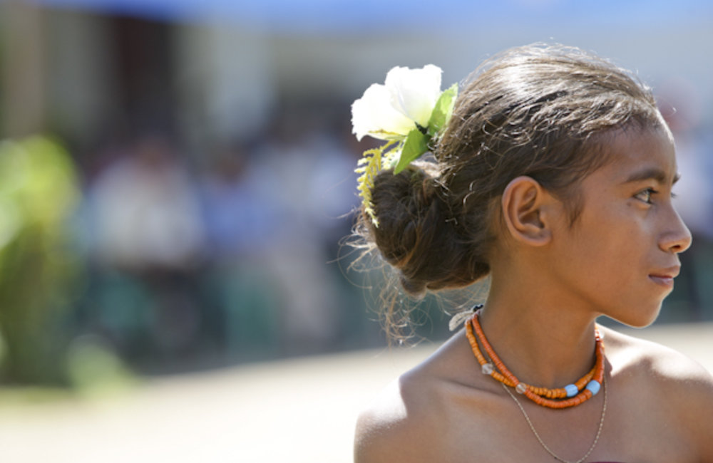 Portrait of a young woman from Lospalos during a ceremony. Photo by UNMIT/Martine Perret