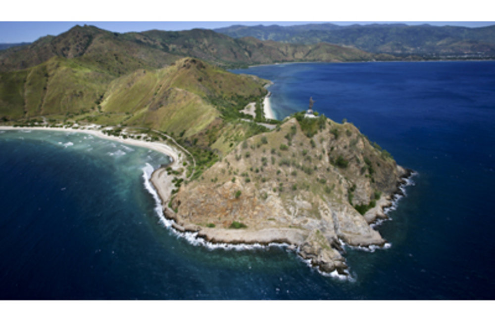 Aerial view of Christu Rei, Dili. Photo by UNMIT/Martine Perret
