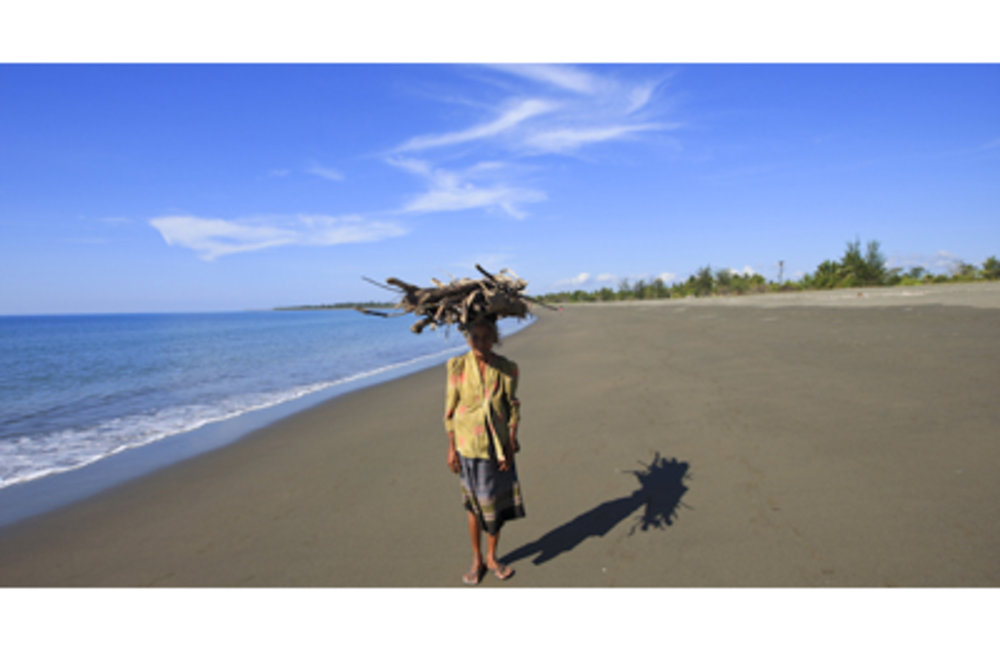 Woman from Suai Loro walks along the beach carrying fire wood for cooking. Photo by UNMIT/Martine Pe
