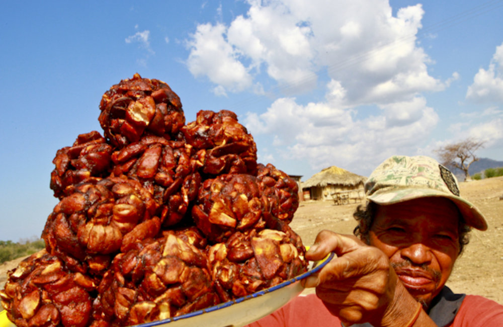 A farmer sells his tamarind crop in Vemasse. Photo by UNMIT/Martine Perret