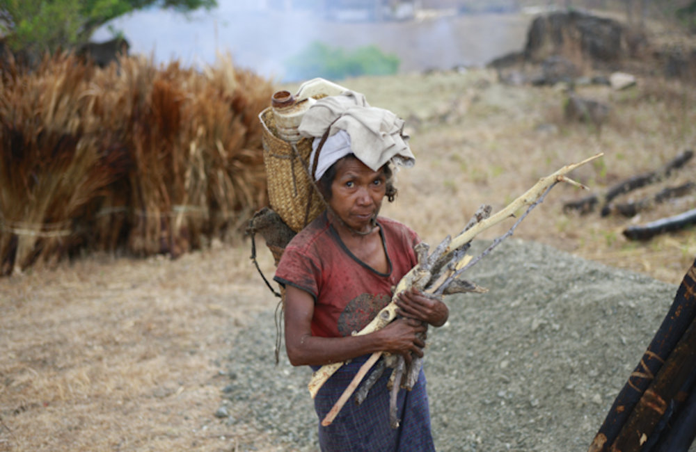 A woman from Lesuata, in Manufahi, carries wood to her home. Photo by UNMIT/Martine Perret