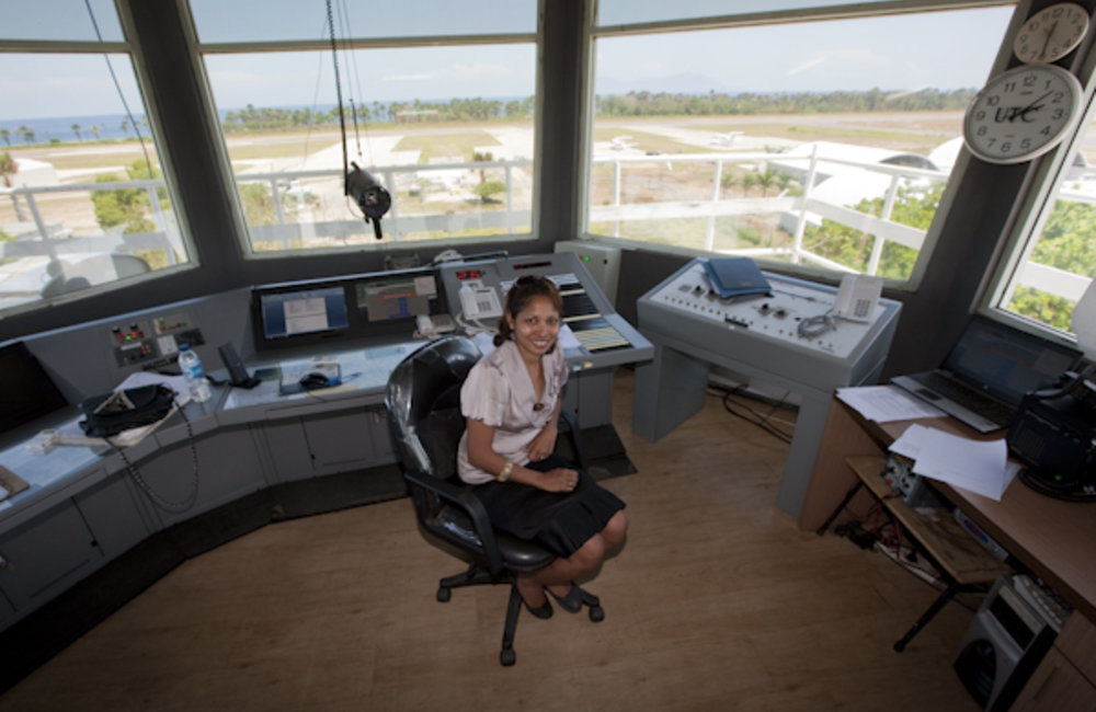 Portrait of Filomena da Costa Soares, the only female Air Traffic Controller in Timor-Leste. Photo b