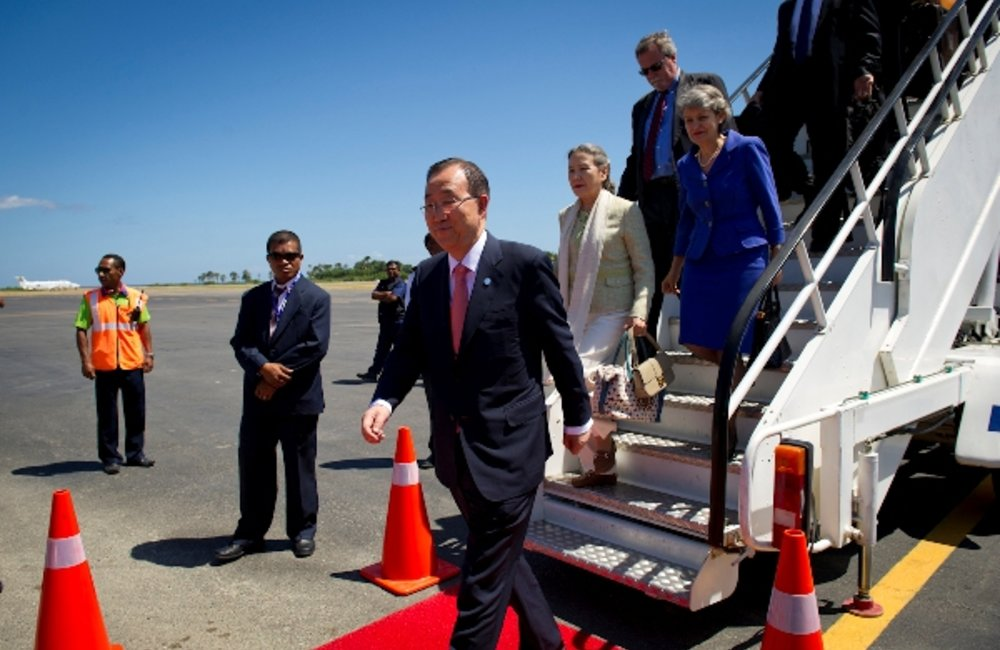 UN Secretary-General Ban Ki-moon arrives in Dili International Airport on 15 August 2012. Pictured w