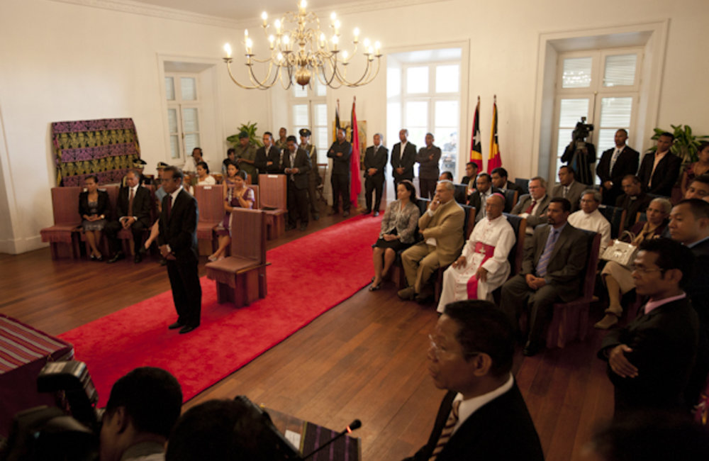 The 5th constitutional government of Timor-Leste was sworn in on 8 August 2012 in Palacio Lahane in