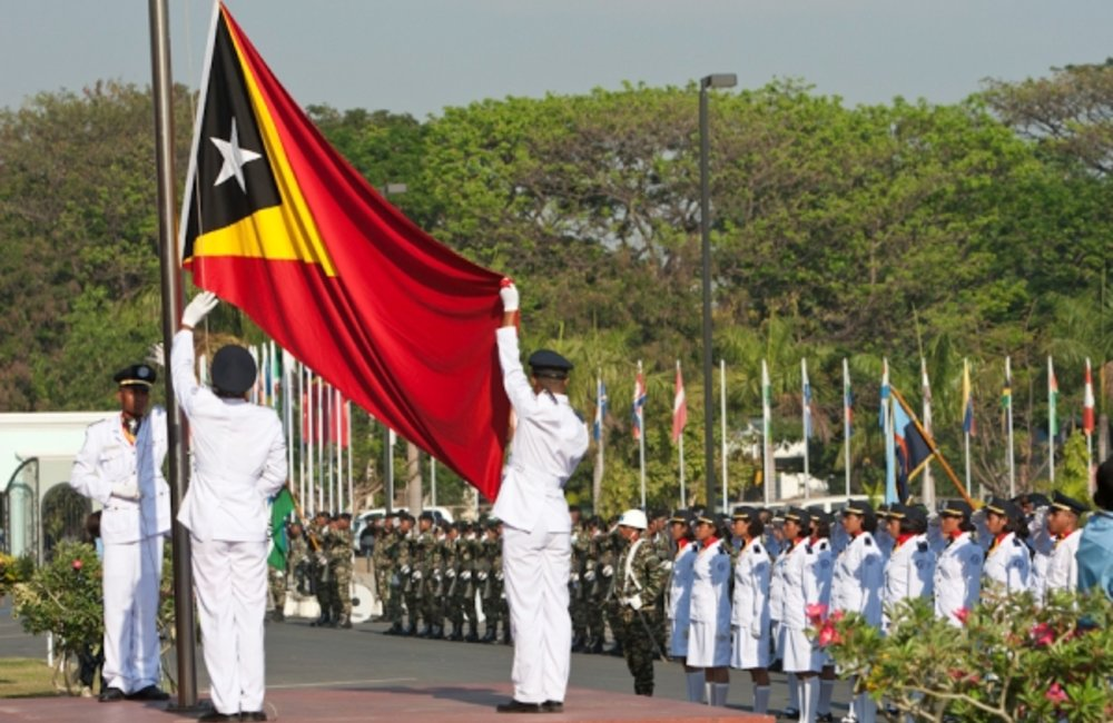 Flag raising ceremony at Timor-Leste's Government Palace to celebrate the 13th anniversary of the Po
