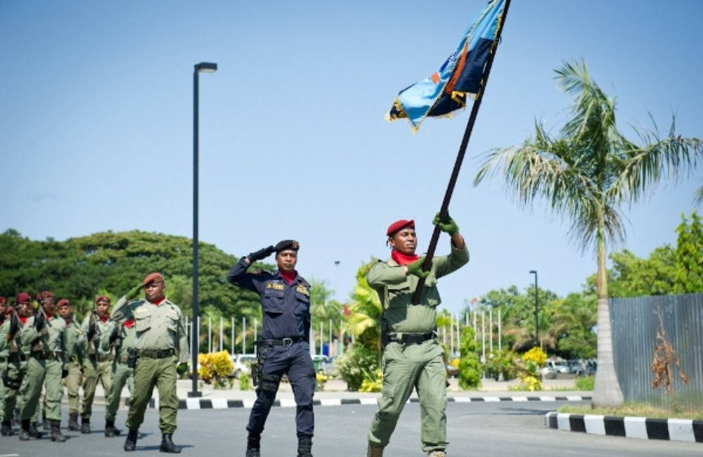 Members of the National Police of Timor-Leste (PNTL) in a  ceremony marking the certification of PNT