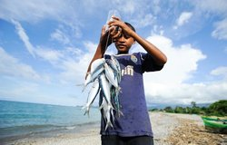 Joao displays his catch after fishing in the area of Bebonuk of Dili. Photo by UNMIT/Bernardino Soar