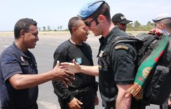 Portuguese UN peacekeepers bid farewell to members of the National Police of Timor-Leste. Portugal w